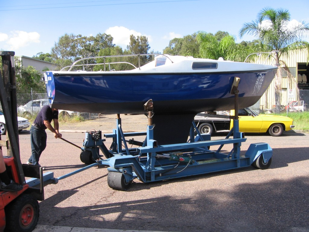 boat on hard stand after painting and repairs 03