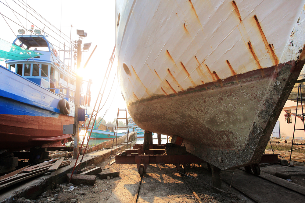 boat in a shipyard for repairs