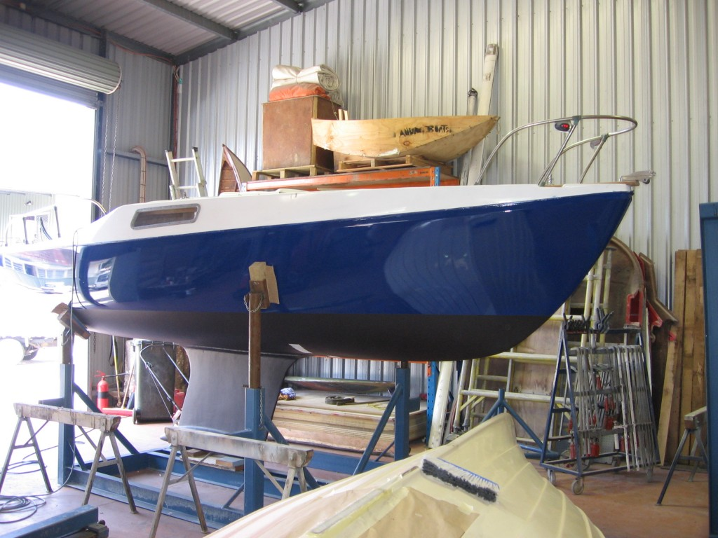 boat on hard stand after painting and repairs 02